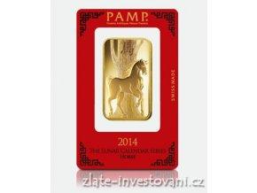 Investiční zlatý slitek PAMP rok koně 2014 100g
