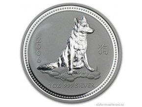 Investiční stříbrná mince rok psa 2006 1 Oz