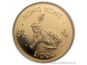 Investiční zlatá mince Králík 1987-Hongkong 1/2 Oz