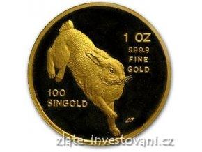 Investiční zlatá mince rok králíka 1987-Singapůr 1 Oz