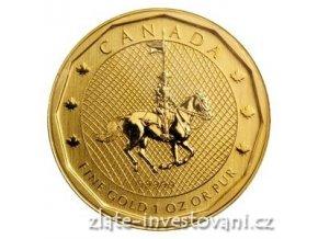 Investiční zlatá mince kanadská jízdní-Mountie 2011 - 1 Oz