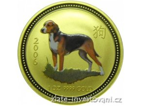 3305 zlata mince rok psa 2006 kolorovana verze 1 4 oz