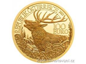 3338 zlata mince 100 eur jelen evropsky rakouska serie wildlife 2013 1 2 oz