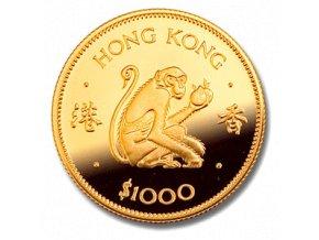 Investiční zlatá mince rok opice 1980-lunární série Honkong 1/2 Oz