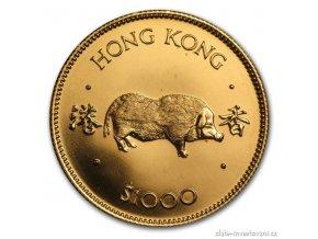 Investiční zlatá mince rok vepře 1983-lunární série Honkong 1/2 Oz