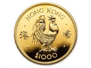 Investiční zlatá mince rok kohouta 1981-Lunární série Honkong 1/2 Oz