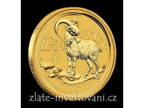 Investiční zlatá mince rok Kozy 2015 1/10 Oz