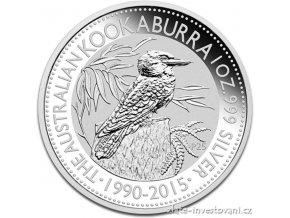 Investiční stříbrná mince australská kookaburra 2015 10 Oz
