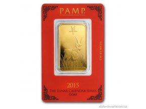 Investiční zlatý slitek rok Kozy 2015-PAMP 1 Oz