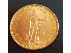 3713 zlata mince dvaceti koruna frantiska josefa i uherska razba 1897