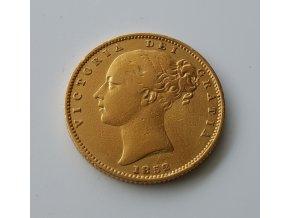 3725 investicni zlata mince britsky sovereign victoria prvni portret typ stit