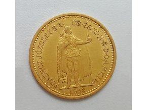 Zlatá mince  Desetikoruna Františka Josefa I.- uherská ražba 1892 KB