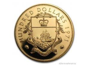 Investiční zlatá mince Sto dolarů Bahamy 1971-proof 1 Oz