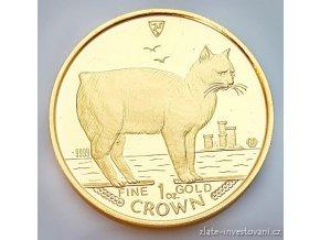 3905 investicni zlata koruna kocky manx 1988 proof 1 oz