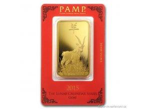 Investiční zlatý slitek PAMP-rok Kozy 2015 100g