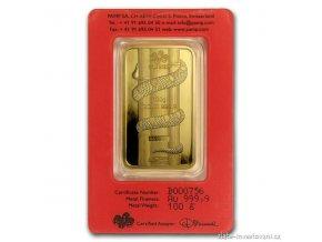 Investiční zlatý slitek PAMP Rok hada 2013 100g