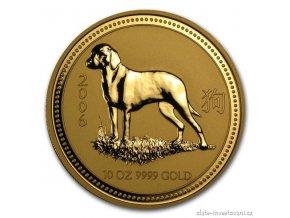 Investiční zlatá mince rok Psa 2006 10 Oz