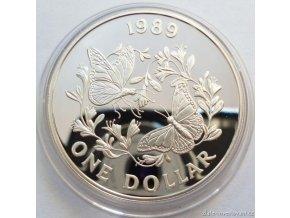 4079 stribrna mince motyl monarcha 1989 bermudy 1 oz