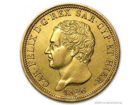 4190 zlata mince 80 lira sardinie carlo felix 1826