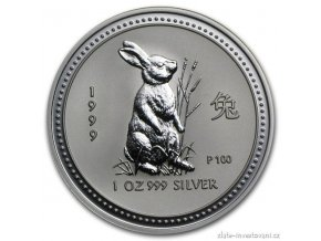 Investiční stříbrná mince rok Králíka 1999 1 Oz