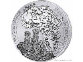 Investiční stříbrná mince Surikaty-Rwanda 2016 1 Oz