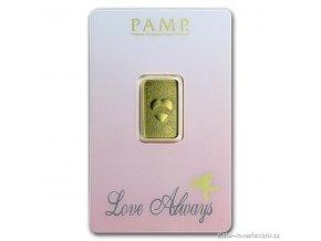 Investiční zlatý slitek Love Always-PAMP 5g