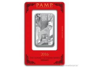 Investiční stříbrný slitek rok Opice 2016-PAMP Švýcarsko 1 Oz