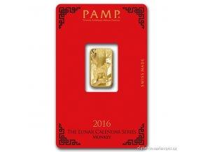 Investiční zlatý slitek PAMP rok  Opice 2016 5g