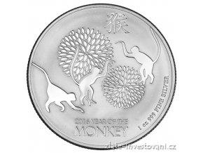 Investiční stříbrná mince rok Opice 2016- Nový Zéland 1 Oz