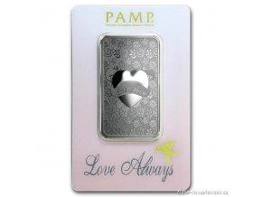 Investiční stříbrný slitek Love Always-PAMP 1 Oz