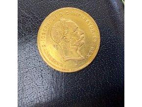 Zlatá mince 4 zlatník Františka Josefa I.-rakouská ražba 1885