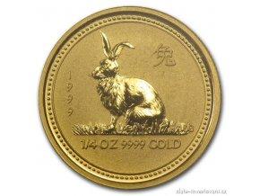 Investiční zlatá mince rok Králíka 1999 1/4 Oz