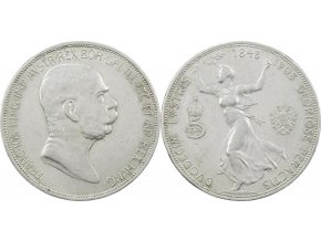Stříbrná 5 korona1908 František Josef I.