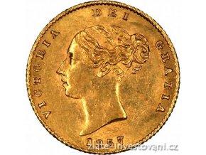 zlatá mince britský půl Sovereign Victoria 1838-1887 první portrét -typ štít