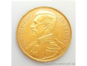 Zlatá mince belgický 20 frank- král Albert 1914