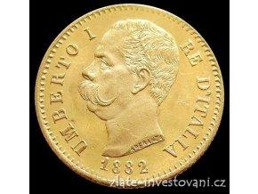 4853 zlata mince italska 20 lira umberto i 1882
