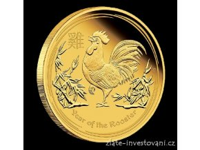 Investiční zlatá mince Rok kohouta 2017 1/10 Oz