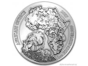 Investiční stříbrná mince Hroch -Rwanda 2017 1 Oz