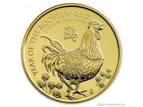 Investiční zlatá mince lunární rok kohouta 2017- British Royal Mint 1 Oz