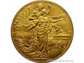 4955 zlata mince italska 50 lira 1911 vyroci kralovstvi vittorio emanuelle iii