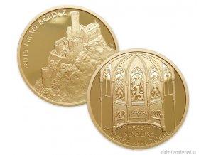 Zlatá mince hrad Bezděz 2016-série hrady BK 1/2 Oz