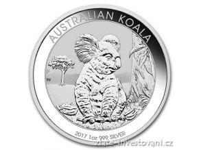 5114 investicni stribrna mince australska koala 2017 1 oz