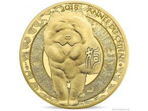 Zlatá mince lunární série Pes 2018-Francie - proof