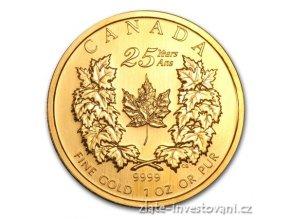 Investiční zlatá mince Kanadský Maple Leaf-25.výročí 2004 1 Oz