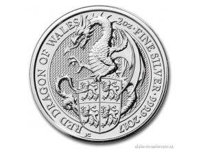 5246 investicni stribrna mince drak kralovny anglie 2017 2 oz