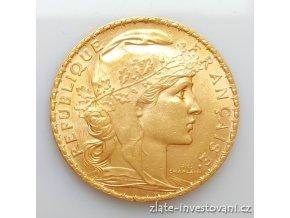 5342 zlata mince francouzsky 20 frank kohout 1906