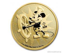 Zlatá mince myšák Mickey -Steamboat Willie -Nový Zéland 2017 1 Oz