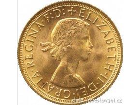 Investiční zlatá mince britský Sovereign-Alžběta II. -první portrér