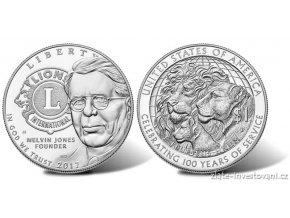 5486 stribrny centennial silver dollar lions clubs 2017 1 oz