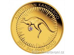 5510 zlata mince klokan s ruzovym diamantem 2017 2 oz